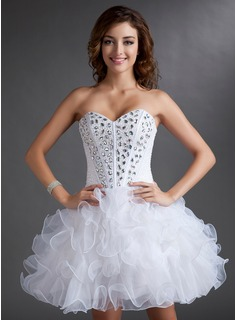 A-Line/Princess Sweetheart Short/Mini Organza Satin Homecoming Dress With Beading Cascading Ruffles (022016723)