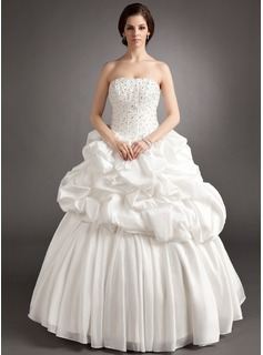 Ball-Gown Sweetheart Floor-Length Taffeta Wedding Dress With Ruffle Beading (002016372)