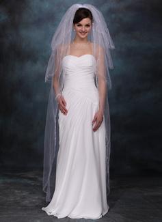 Quattro strati Velare da sposa valzer con Bordo tagliato (006020355)
