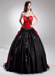 Duchesse-Linie Wellenkante Sweep/Pinsel zug Satin Quinceañera Kleid (Kleid für die Geburtstagsfeier) mit Perlstickerei Applikationen Spitze Pailletten (021015696)