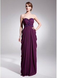 Cheap Evening Dresses Empire Sweetheart Floor-Length Chiffon Evening Dress With Ruffle Beading Sequins (017014566)