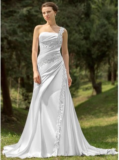 A-Line/Princess One-Shoulder Chapel Train Charmeuse Wedding Dress With Ruffle Lace Beading (002000109)