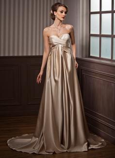 Forme Empire Bustier en coeur Traîne moyenne Satiné Robe de mariée avec Plissé (002012194)