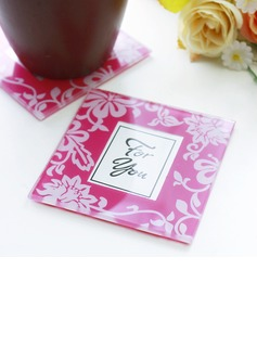 Pink Florist Glass Picture Coasters Set Wedding Gifts(set of 2pcs) (051178610)