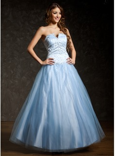 Ball-Gown Sweetheart Floor-Length Satin Tulle Prom Dress With Beading Sequins (018043599)