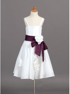 A-Line/Princess Tea-length Flower Girl Dress - Taffeta Sleeveless Straps With Sash/Flower(s) (010007370)
