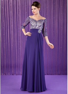 A-Linie/Princess-Linie Off-the-Schulter Bodenlang Chiffon Kleid für die Brautmutter mit Rüschen Spitze Perlstickerei (008018708)