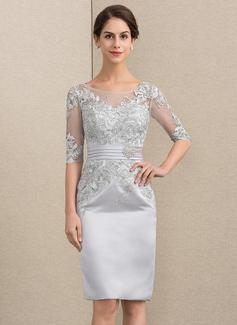 Etui-Linie U-Ausschnitt Knielang Satin Spitze Kleid für die Brautmutter (008152158)