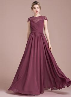 A-Linie/Princess-Linie U-Ausschnitt Bodenlang Chiffon Lace Brautjungfernkleid mit Rüschen (007104723)