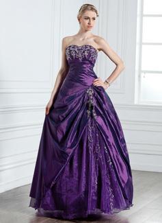 Duchesse-Linie Herzausschnitt Bodenlang Taft Quinceañera Kleid (Kleid für die Geburtstagsfeier) mit Bestickt Perlen verziert (021005237)