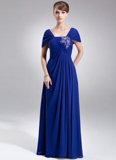 A-Linie/Princess-Linie Off-the-Schulter Bodenlang Chiffon Kleid für die Brautmutter mit Rüschen Lace Perlstickerei Pailletten (008006008)