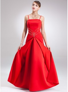 A-Line/Princess Floor-Length Satin Prom Dress With Beading (018135207)
