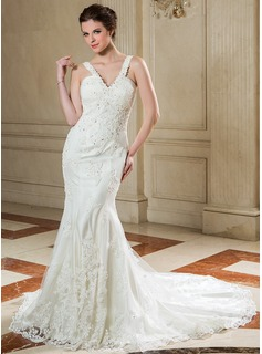 Trumpet/Mermaid V-neck Court Train Organza Wedding Dress With Ruffle Lace Beading Sequins (002000582)