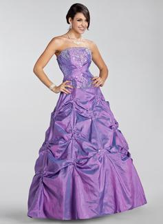 Duchesse-Linie Trägerlos Bodenlang Taft Quinceañera Kleid (Kleid für die Geburtstagsfeier) mit Bestickt Rüschen Perlstickerei Pailletten (021020886)