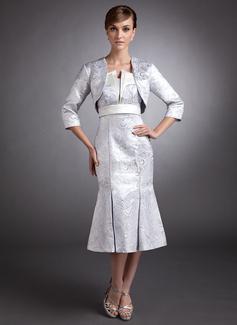 Trompete/Meerjungfrau-Linie Wellenkante Wadenlang Satin Kleid für die Brautmutter (008006435)