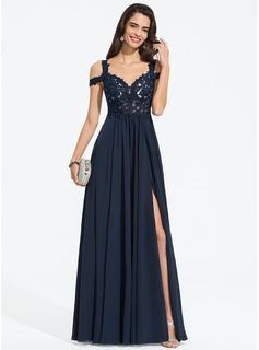 A-Line Sweetheart Off-the-Shoulder Floor-Length Chiffon Prom Dresses With Beading Split Front (018187214)