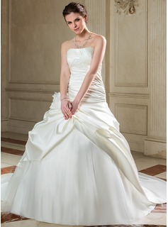 Ball-Gown Strapless Chapel Train Satin Tulle Wedding Dress With Ruffle Flower(s) (002040678)