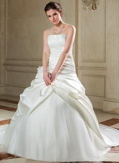 Corte de baile Estrapless Cola capilla Satén Tul Vestido de novia con Volantes Flores (002040678)