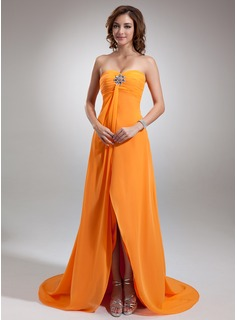 Robe de Bal de Promo Empire Cur Assymetrique Mousseline Robe de Bal de Promo avec Ondul Brod (018002654)