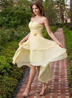 A-Linie/Princess-Linie Herzausschnitt Asymmetrisch Chiffon Brautjungfernkleid mit Rüschen Blumen (022027107)