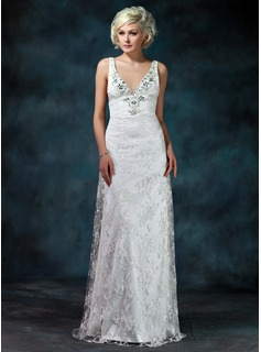 Sheath/Column V-neck Watteau Train Chiffon Charmeuse Lace Wedding Dress With Ruffle Beadwork (002000229)