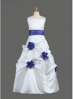 A-Line/Princess Satin First Communion Dresses With Sash/Beading/Flower(s)/Sequins (010002149)