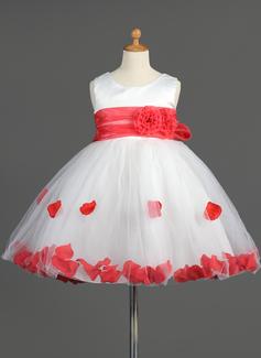 Robe Empire Longueur genou Robes à Fleurs pour Filles - Organza/Satiné/Tulle Sans manches Col rond avec Ceintures/Fleur(s)/À ruban(s) (010014603)