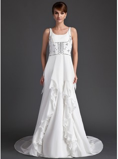 A-Line/Princess Scoop Neck Court Train Chiffon Wedding Dress With Beading Cascading Ruffles (008015959)