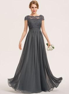 A-Line Scoop Neck Floor-Length Chiffon Lace Bridesmaid Dress (007190693)