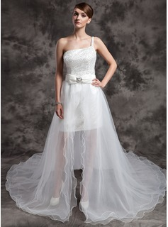 A-Line/Princess One-Shoulder Asymmetrical Organza Sequined Wedding Dress With Beading Bow(s) (002024076)