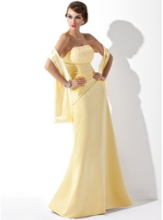 A-Line/Princess Strapless Floor-Length Satin Bridesmaid Dress With Ruffle Lace (007001807)