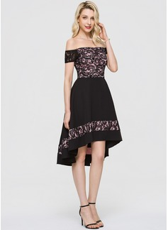 A-Line Off-the-Shoulder Asymmetrical Stretch Crepe Cocktail Dress (016197085)