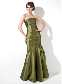 Trumpet/Mermaid Strapless Floor-Length Taffeta Bridesmaid Dress With Ruffle Beading Bow(s) (007000906)