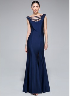 Trompete/Meerjungfrau-Linie Off-the-Schulter Bodenlang Jersey Abendkleid mit Perlstickerei Pailletten Schlitz Vorn (017045200)