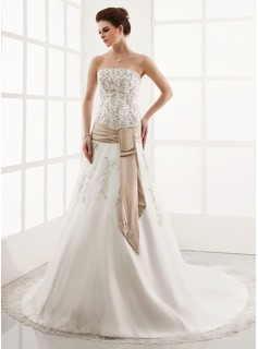 A-Line/Princess Strapless Cathedral Train Organza Satin Wedding Dress With Embroidery Lace Sash (002000303)