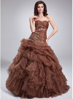 Ball-Gown Sweetheart Floor-Length Organza Quinceanera Dress With Beading Appliques Lace Cascading Ruffles (021004552)