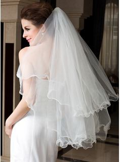Two-tier Fingertip Bridal Veils With Finished Edge/Scalloped Edge (006036607)