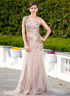 Trompete/Meerjungfrau-Linie U-Ausschnitt Hof-schleppe Tüll Kleid für die Brautmutter mit Rüschen Perlen verziert (008024577)