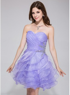 A-Line/Princess Sweetheart Short/Mini Organza Homecoming Dress With Beading Cascading Ruffles (022027096)