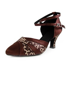 Women's Satin Fabric Heels Pumps Ballroom With Animal Print Ankle Strap Dance Shoes (053013365)