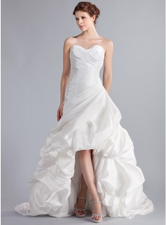 A-Line/Princess Sweetheart Asymmetrical Taffeta Wedding Dress With Ruffle (002025339)