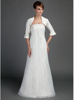 A-Line/Princess Strapless Sweep Train Organza Satin Wedding Dress With Ruffle (002015714)