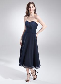 A-Linie/Princess-Linie Herzausschnitt Wadenlang Chiffon Brautjungfernkleid mit Perlen verziert (007051874)