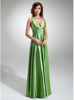 A-Line/Princess V-neck Floor-Length Charmeuse Holiday Dress With Ruffle Beading (020025970)