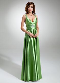 A-Linie/Princess-Linie V-Ausschnitt Bodenlang Charmeuse Festliche Kleid mit Rüschen Perlen verziert (020025970)