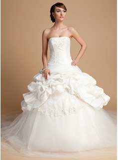 Ball-Gown Strapless Cathedral Train Taffeta Tulle Wedding Dress With Lace Sequins (002014699)