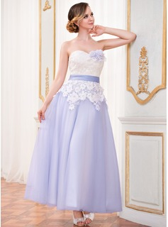 A-Line/Princess Sweetheart Ankle-Length Satin Tulle Lace Wedding Dress With Sash Flower(s) (002042301)