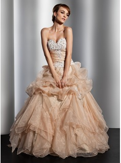 Ball-Gown Sweetheart Floor-Length Organza Wedding Dress With Ruffle Lace Beading Sequins (002014813)