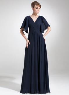 Empire-Linie V-Ausschnitt Bodenlang Chiffon Kleid für die Brautmutter mit Gestufte Rüschen (008006475)