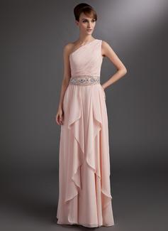 A-Linie/Princess-Linie One-Shoulder-Träger Bodenlang Chiffon Kleid für die Brautmutter mit Perlen verziert Gestufte Rüschen (008006378)